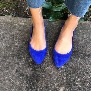 Madewell blue suede sidewalk skimmers flats